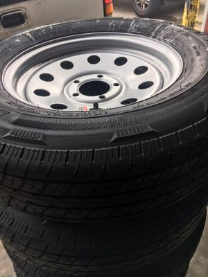 "set of 4 - Trailer tires 205/75/15 - 15"" 5 Lug Trailer tires - Radial on silver mod - Tire and Rim - free installation - we carry all trailer tires for Sale in Plant City, FL"