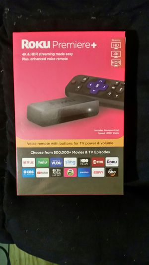 Roku Premiere Plus 4K and HDR Streaming Stick with voice-activated remote for Sale in Dothan, AL