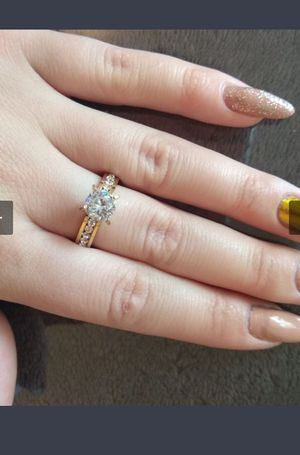 Beautiful no fade Stainless Steel Rings For Women Circle CZ Fashion Gold color Jewelry Size 7 and 8 $8 each for Sale in Avondale, AZ
