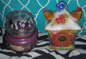Lavender candle and glass bird cage for Sale in Clovis, CA
