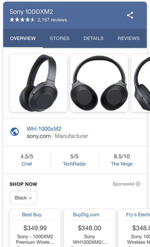 Sony 1000XM2 Wireless Headphones for Sale in Irvine, CA