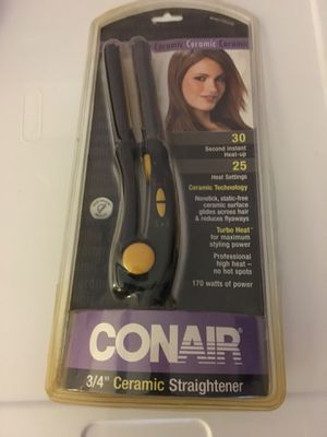 New in package con air or ceramic three-quarter inch straightener hair 30 second heat up travel conair for Sale in El Cajon, CA