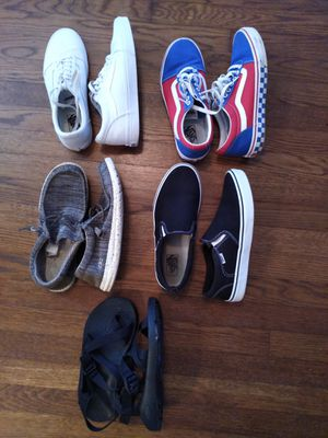Four pairs of Size 9 Vans, Chaos, Hey Dude shoes for Sale in Duluth, GA
