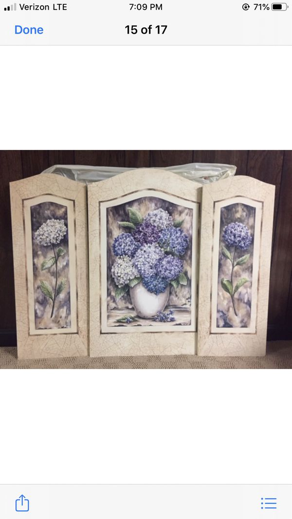 (3) Panel Hydrangea Wall Hanging
