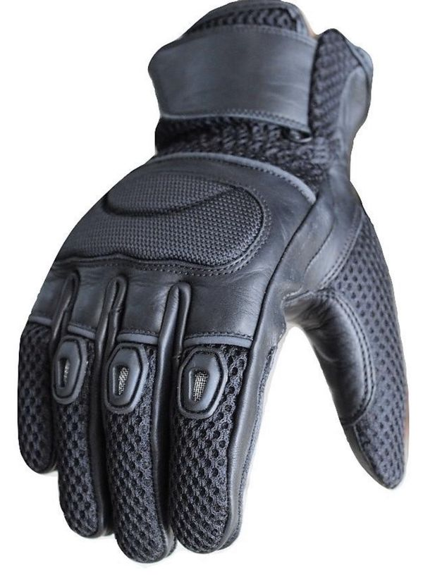 MEN MOTORCYCLE NEW BLACK CRUISER MESH AND LEATHER TOUCHSCREEN BIKERS