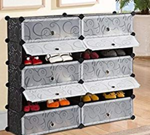 modular multi use plastic storage organizer with doors, curly black and white pattern for Sale in Ontario, CA
