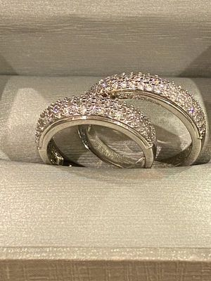 Stamped 925 Sterling Silver Matching Diamond Ring Set- Unisex for Sale in Sacramento, CA