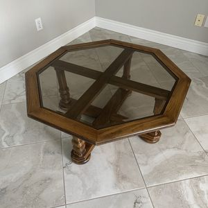 Coffee Table, Oak with Glass Top, Octagonal for Sale in Cape Coral, FL