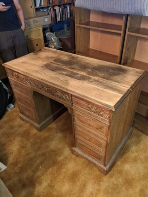 Large hardwood desk very solid, good for project piece. Comes with hardware. depth 24. Width 48. Height 31. for Sale in Ocean Ridge, FL