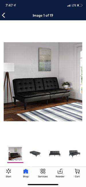 Mainstays Memory Foam Faux Leather PillowTop Futon with Cupholder, Black for Sale in Las Vegas, NV