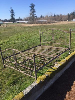 Rustic metal bed frame, full/double for Sale in Stanwood, WA