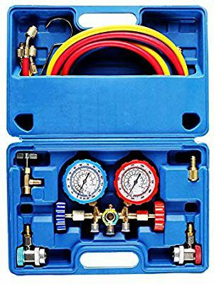 3 Way AC Diagnostic Manifold Gauge Set for Freon Charging, Fits R134A R12 R22 and