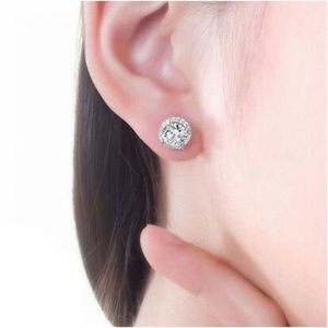NEW 1.25ct Round Moissanite White Diamond Halo Brilliant Cut Stud Earrings 18K White Gold for Sale in Sterling Heights, MI