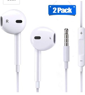 2 Pack Earphones/Earbuds/Headphones/Headsets to 3.5mm with Stereo Mic&Remote Control for Sale in Miami, FL