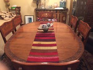 Antique gold inlaid dining table with 8 chairs... for Sale in Brooksville, FL