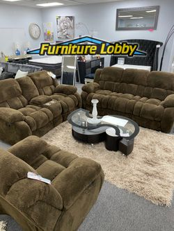 NEW Brown Sofa and Love Seat Reclining SET Very Soft AVV for Sale in Irving,  TX