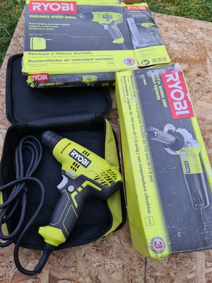 Ryobi 5.5 Amp Corded 4-1/2 in. Angle Grinder And 5.5 Amp Corded 3/8 in. Variable Speed Compact Drill/Driver with Bag . for Sale in Snohomish, WA