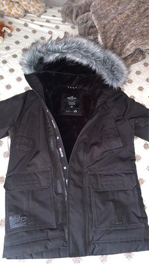 Hollister hooded puffer parka jacket faux fur trim in black for Sale in Las Vegas, NV