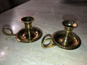 """Vintage Solid Brass Candle Stick Holder Round Drip Dish w/ Finger Hold-3"""" tall by 5"""" wide for Sale in Palmdale, CA"""