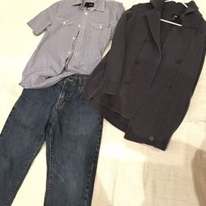 LOT Men XS Hurley Gingham shorsleeves button down shirt OLD NAVY Denim Jeans 32 x 30 H&M knit winter Fall fashion sweater for Sale in Tijuana, MX