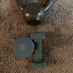 Kettle Bell 10lb And Dumbells 3lb for Sale in Durham,  NC