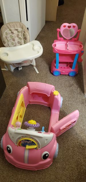 Kids high chair, car, make up vanity for Sale in Fresno, CA