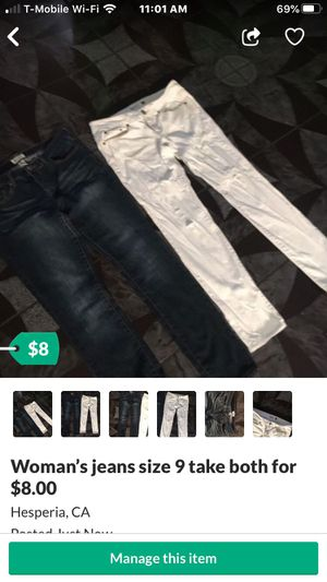 Woman's jeans size 9 take both for $8.00 for Sale in Hesperia, CA