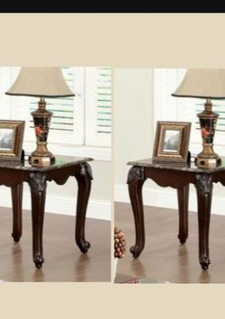 End Tables In Dark Cherry With Faux Marble Top for Sale in Ontario,  CA