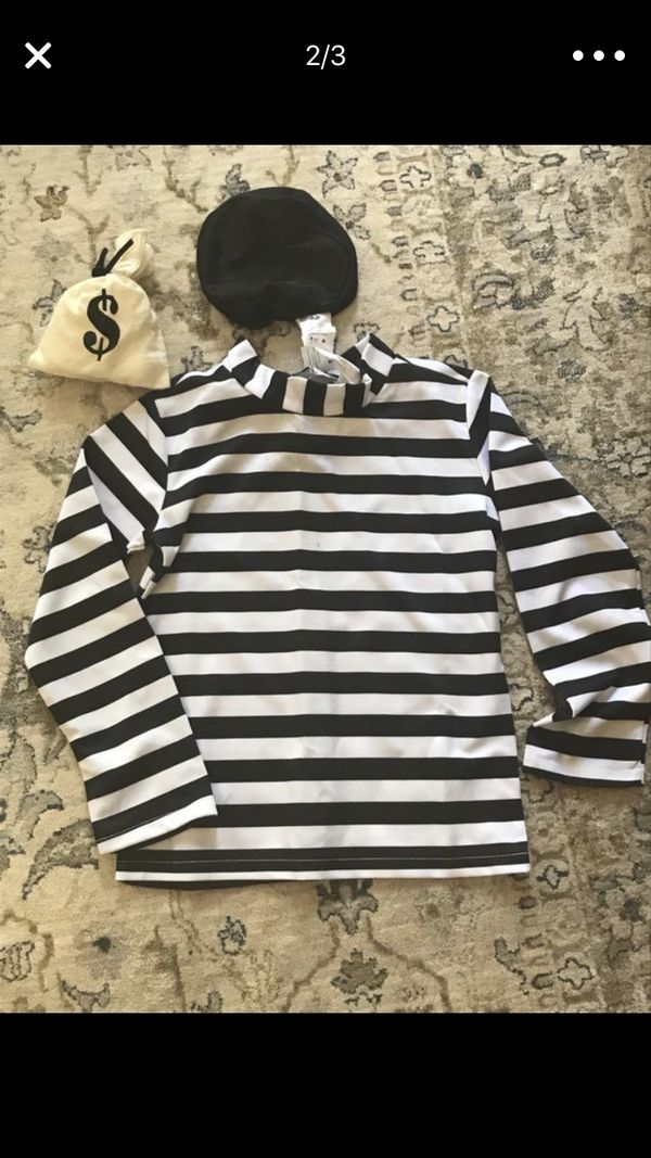 Halloween prisoners costumes. Adult and child.