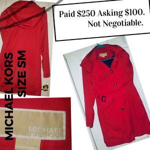 Red Hooded Michael Kors Raincoat Trenchcoat Jacket for Sale in Las Vegas, NV