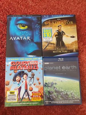Avatar Gladiator Planet Earth Cloudy with a chance of Meatballs Blu-Ray DVD for Sale in La Crescenta-Montrose, CA