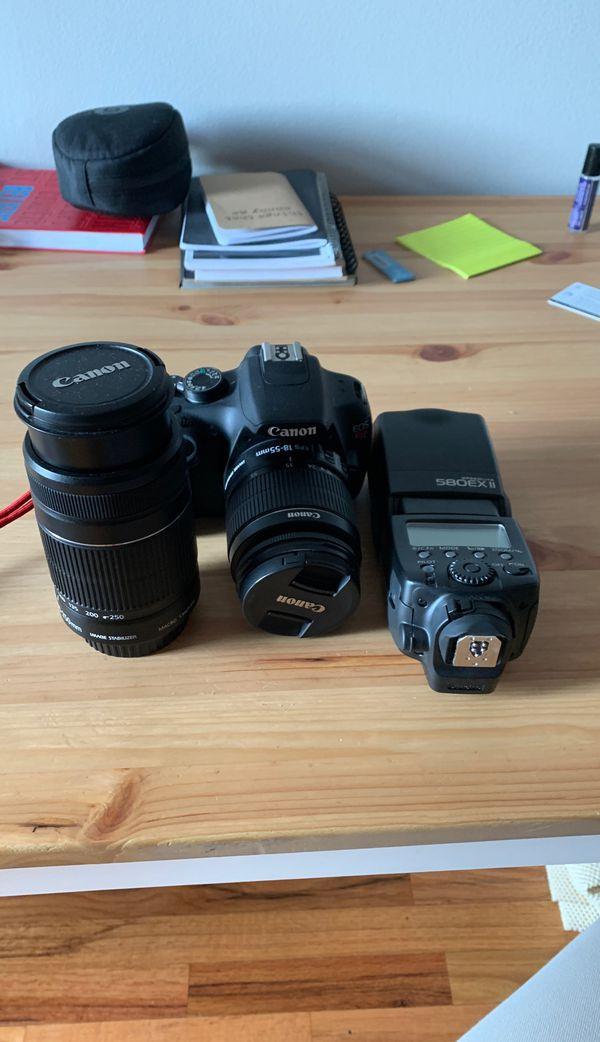 Canon Rebel T5, 18-55mm Lens, 55-250mm Lens, speedlite 580ex external flash