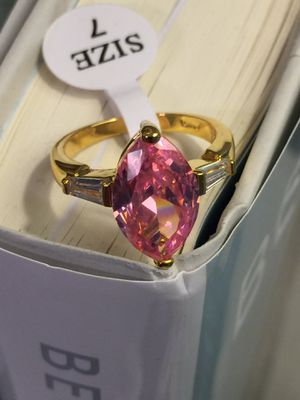 18k Gold Filled Engagement Ring With Pink Stone And Clear CZ Size 6,7,8 for Sale in Nashville, TN