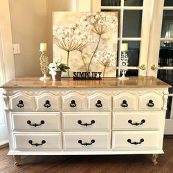 White farmhouse refinished sideboard Buffet dresser Hardwood top for Sale in Vancouver,  WA