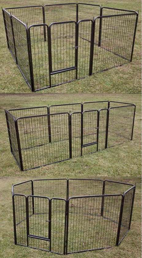 New in box 32 inch tall x 32 inches wide each panel x 8 panels heavy duty exercise playpen fence safety gate dog cage crate kennel expandable fence g