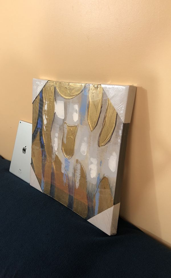 """16""""x16"""" hand painted 3D golden abstract canvas wall art"""