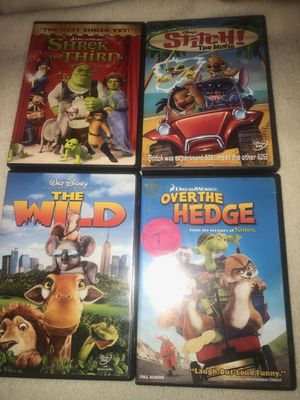 Nice lot of 4x kids dvd movies The wild Shrek the thir for Sale in Westford, MA
