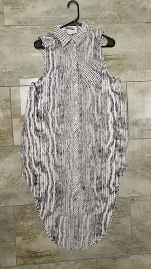 Alythea size medium m no sleeve collared button-up long in back shorter in front pocket black & white striped dress punk rock Halloween costume drag for Sale in Scottsdale, AZ