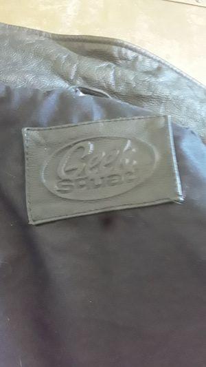 Geek Squad leather motorcycle jacket for Sale in Denham Springs, LA