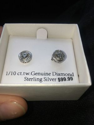 1/10 ct genuine sterling diamond earrings for Sale in Baltimore, MD