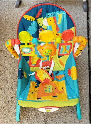 Fisher Price vibrating bouncy seat & diaper bag for Sale in Dallas, TX
