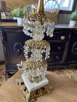 Hollywood Regency Crystal Lamp W/ Velvet Damask Shade for Sale in Milwaukie,  OR
