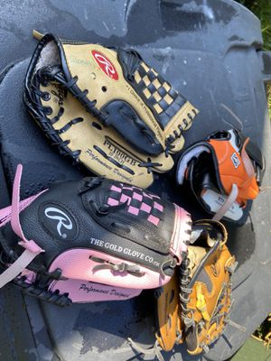 Child size baseball gloves for Sale in Artesia, CA