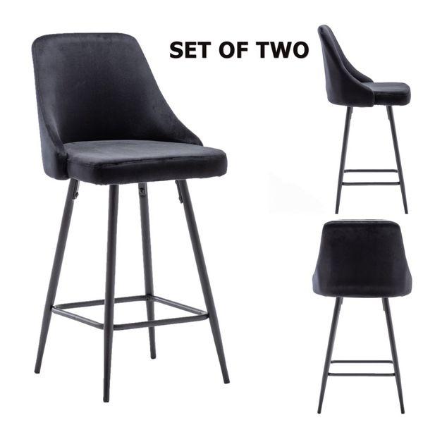 Velvet black bar stools with black legs counter stools