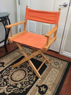 TANGERINE COLORED WOOD FRAMED DIRECTORS CHAIR for Sale in Bonney Lake,  WA