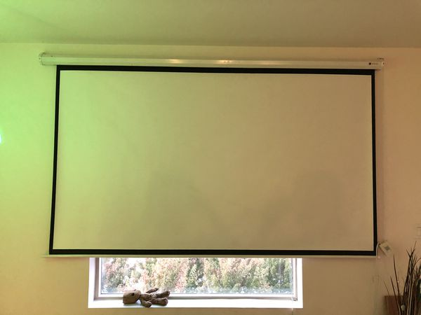 Automated movie projector screen