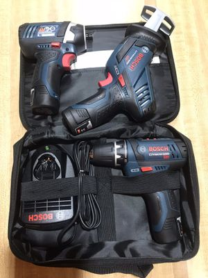 NEW BOSCH DRILL /DRIVER & IMPACT RECIPROCATING SAW WITH 3 BATTERIES CHARGER & SOFT CASE for Sale in Nineveh, IN