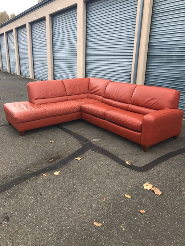 Italsofa Burnt Orange Leather Sectional Sofa Hide A Bed