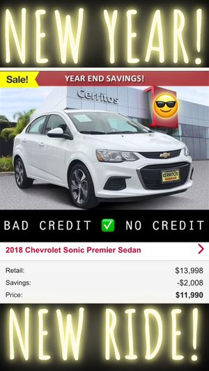 2018 Chevy sonic premier sedan white clean title automatic lease finance car dealer bad credit for Sale in Artesia, CA