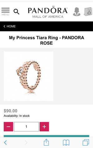 "NEW ""My Princess Tiara Ring"" from Pandora for Sale in UNIVERSITY PA, MD"